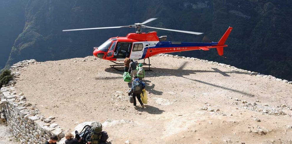 helicopter to namche